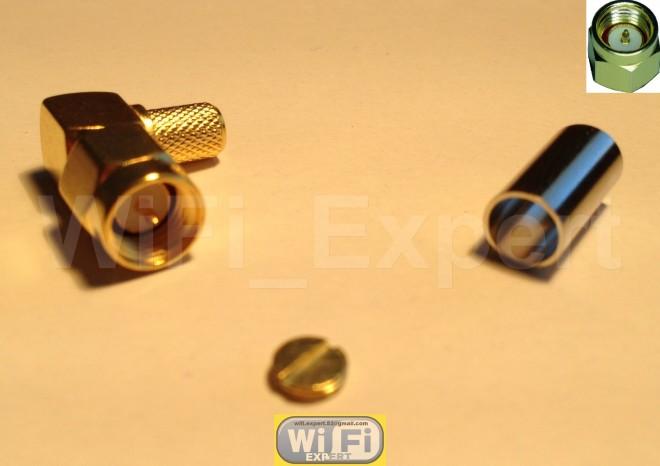 1 x RP-SMA Male plug right angle crimp RG58 RG142 RG400 LMR195 Coax Cable USA
