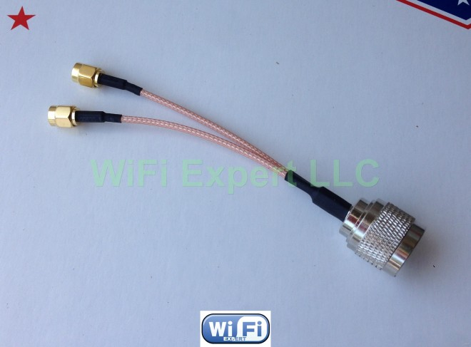 12 inches SUPERBAT N Type Splitter Cable N Male to Dual SMA Male Cable N-Type Adapter Cable V Type 50ohm 30cm