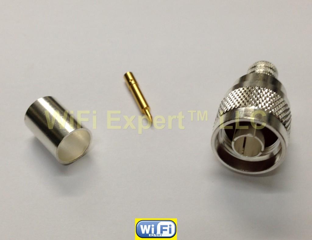 10 silver n male crimp coax connector lmr400 lmr 400 belden 9913 rg8 rg213 ebay. Black Bedroom Furniture Sets. Home Design Ideas