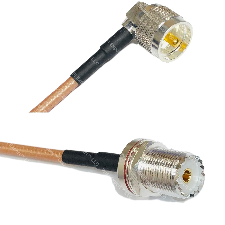 RG142 SILVER UHF PL259 Male Angle to SO239 Bulkhead Female Coaxial RF Cable